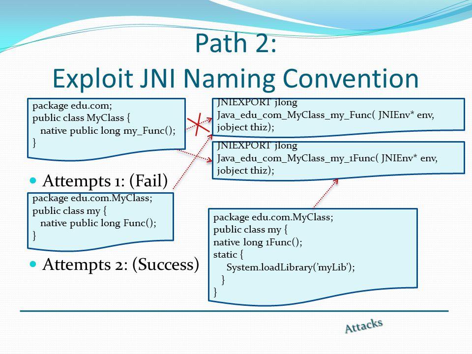 Path 2: Exploit JNI Naming Convention Attempts 1: (Fail) Attempts 2: (Success) package edu.com; public class MyClass { native public long my_Func(); } package edu.com.MyClass; public class my { native public long Func(); } package edu.com.MyClass; public class my { native long 1Func(); static { System.loadLibrary('myLib'); } JNIEXPORT jlong Java_edu_com_MyClass_my_1Func( JNIEnv* env, jobject thiz); JNIEXPORT jlong Java_edu_com_MyClass_my_Func( JNIEnv* env, jobject thiz);