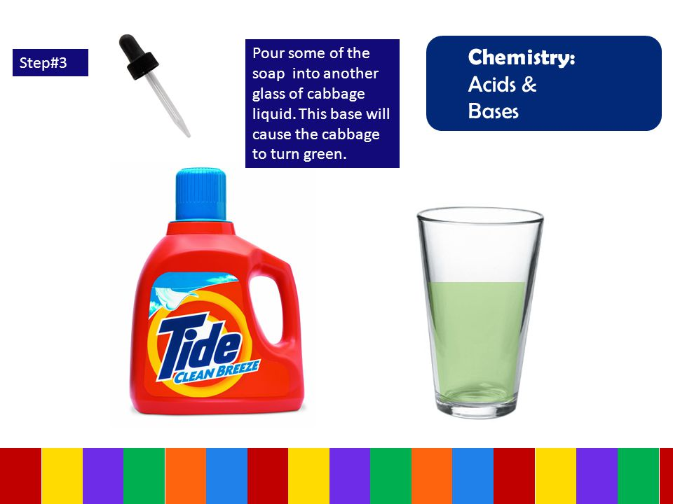 Chemistry: Acids & Bases Step#3 Pour some of the soap into another glass of cabbage liquid.