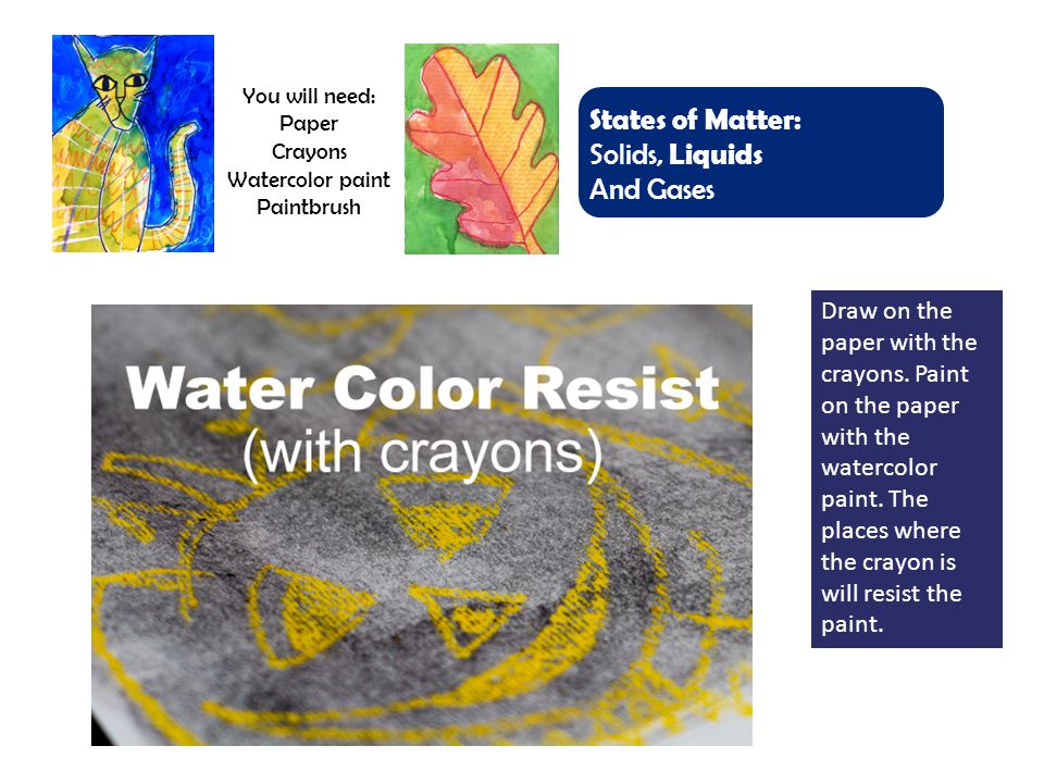 You will need: Paper Crayons Watercolor paint Paintbrush States of Matter: Solids, Liquids And Gases Draw on the paper with the crayons.