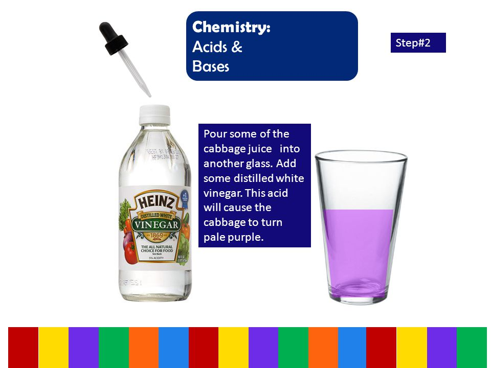 Chemistry: Acids & Bases Step#2 Pour some of the cabbage juice into another glass.