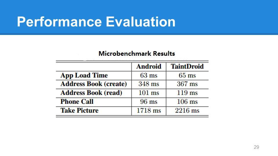 Performance Evaluation 29