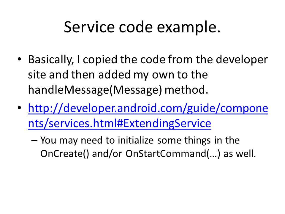 Service code example.