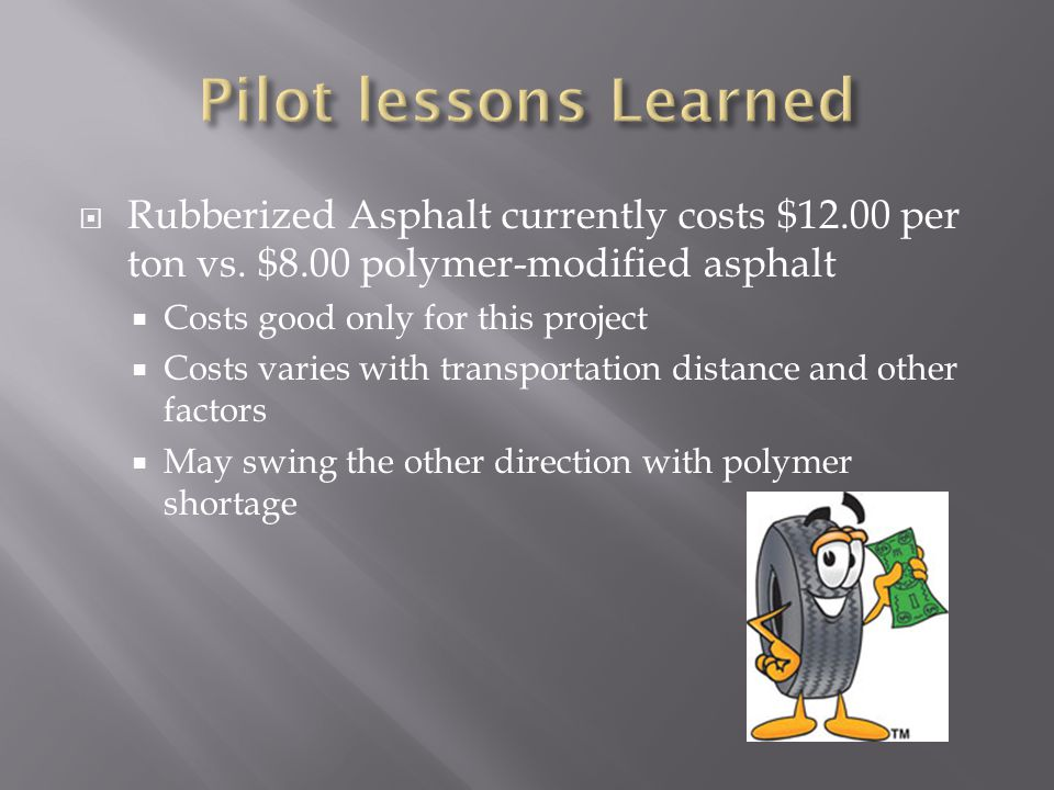  Rubberized Asphalt currently costs $12.00 per ton vs.