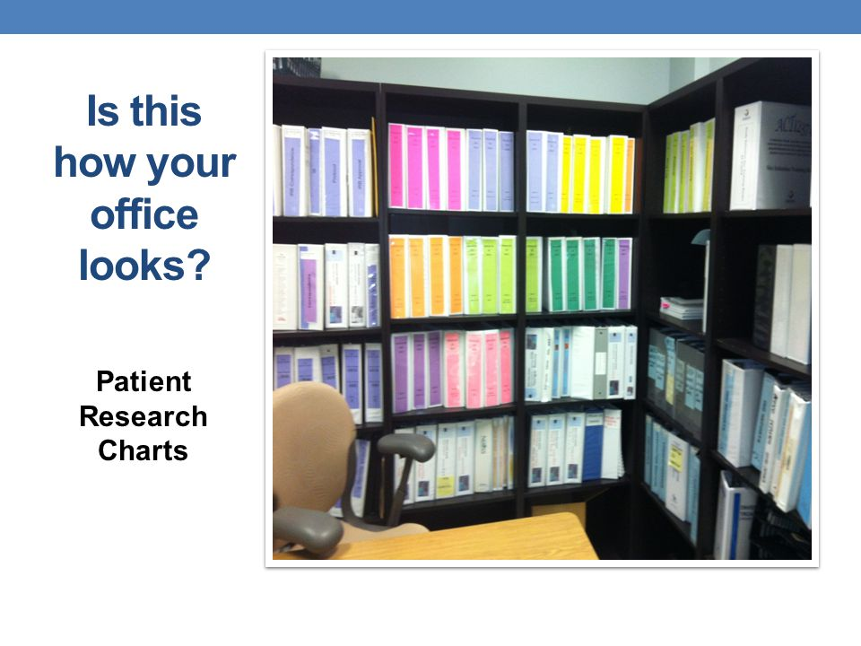 Is this how your office looks? Patient Research Charts