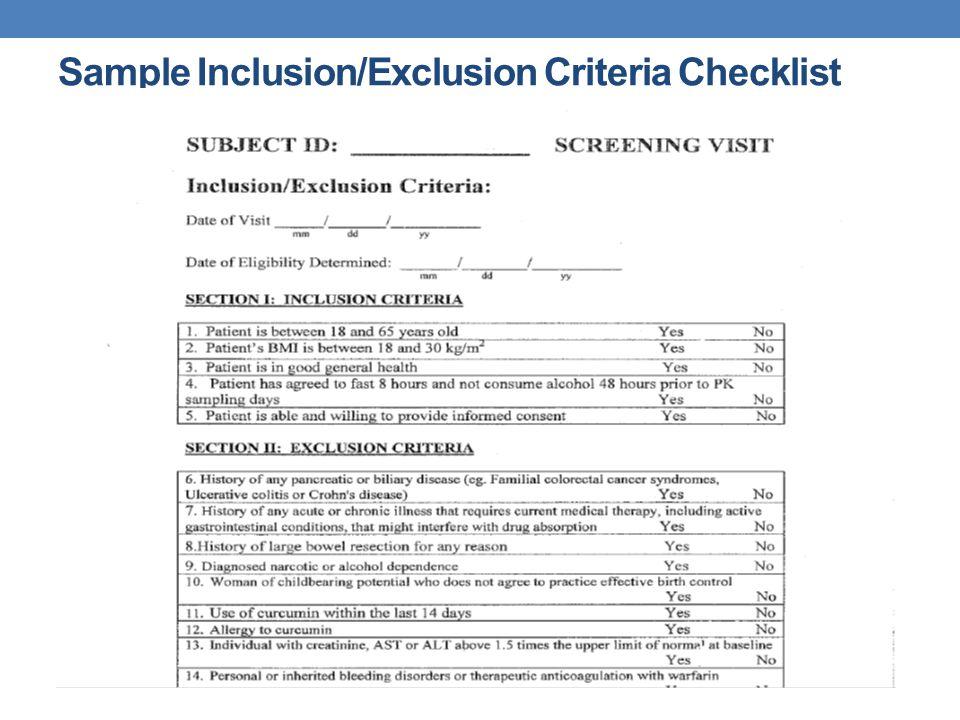 Sample Inclusion/Exclusion Criteria Checklist