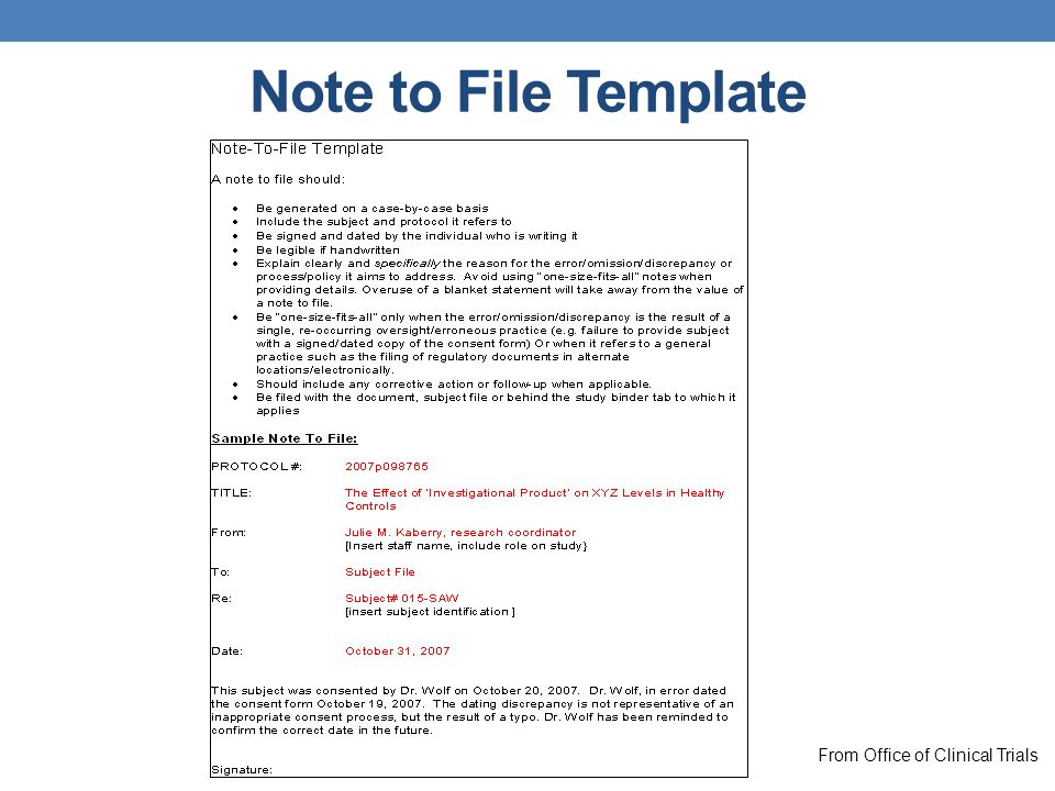 Note to File Template From Office of Clinical Trials