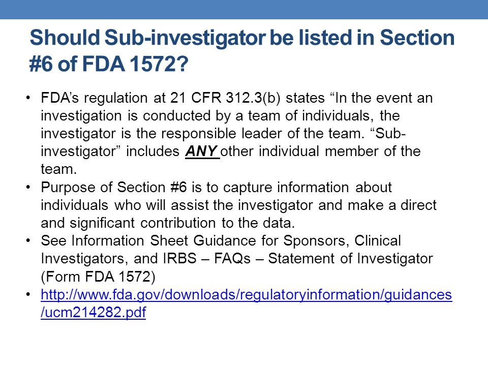 General CRC Responsibilities Study Subjects Provide information for treatment and reactions Administer or dispense investigational agent, as outlined in the protocol, under the investigator's supervision Investigational Drug Accountability Order, store, dispense, retrieve, log Randomization codes Unblinding procedures Promote subject compliance by providing patient support and education Prepare lab specimens; ship biological samples and radiologic films Arrange for study subject compensation Comply with FDA regulations for conducting clinical trials