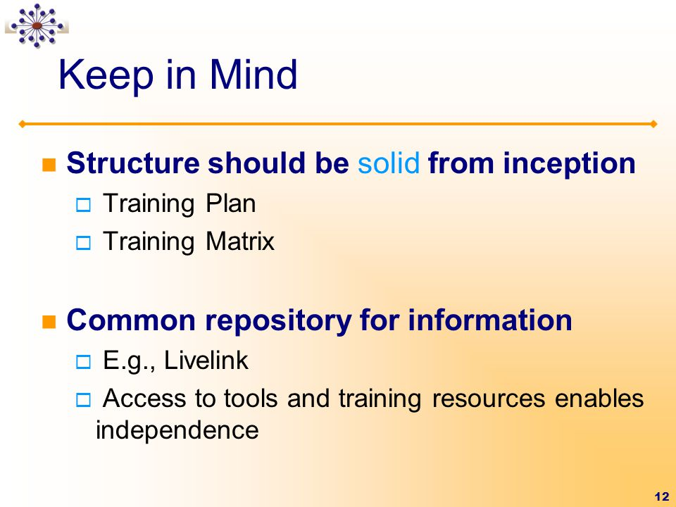 12 Structure should be solid from inception  Training Plan  Training Matrix Common repository for information  E.g., Livelink  Access to tools and training resources enables independence Keep in Mind