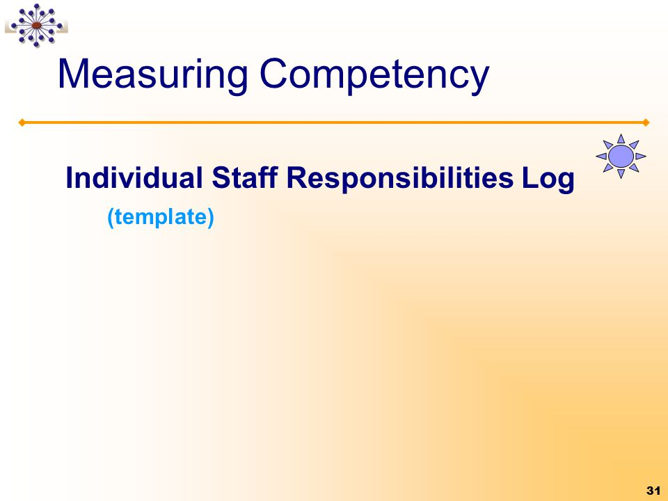 31 Measuring Competency Individual Staff Responsibilities Log (template) 31