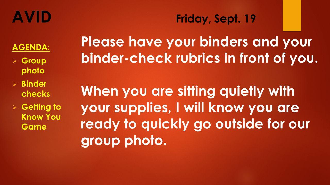 AVID Friday, Sept.