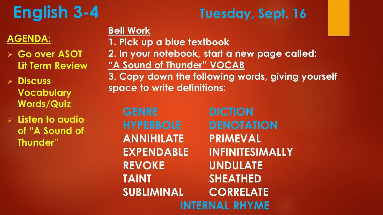 English 3-4 Tuesday, Sept.