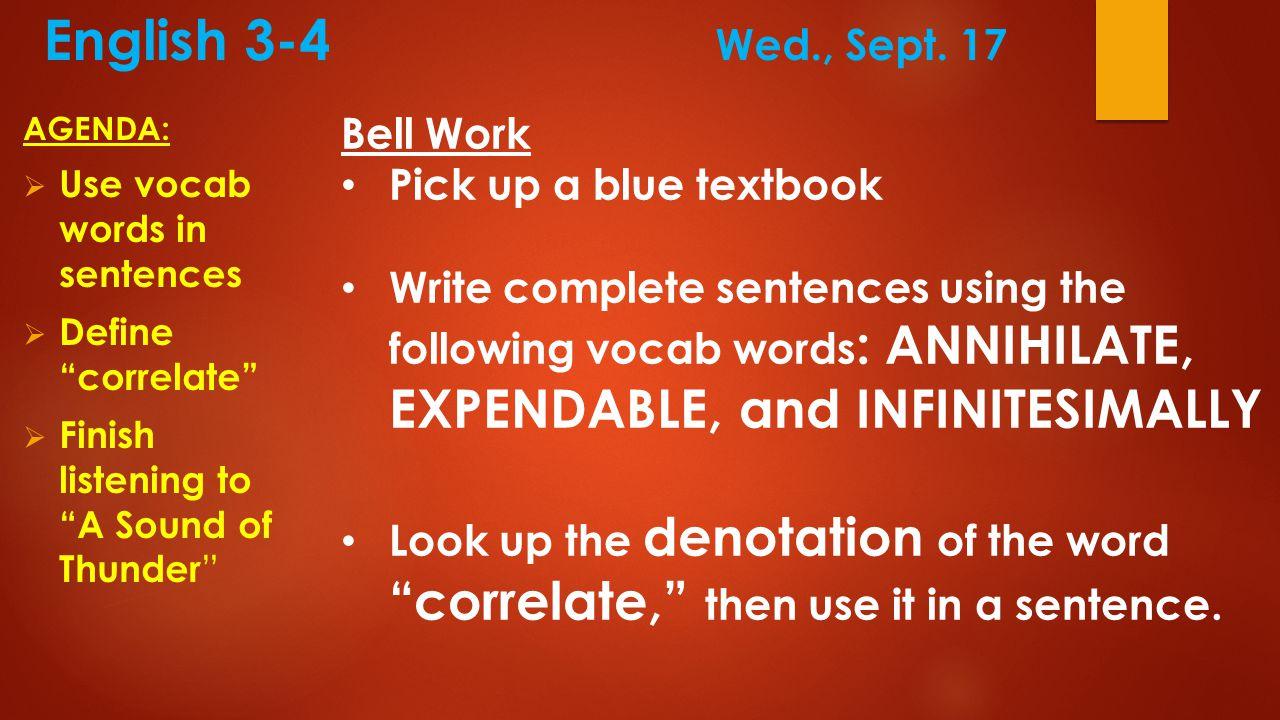 English 3-4 Wed., Sept.