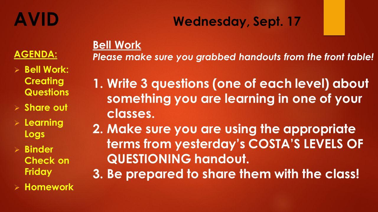 AVID Wednesday, Sept.