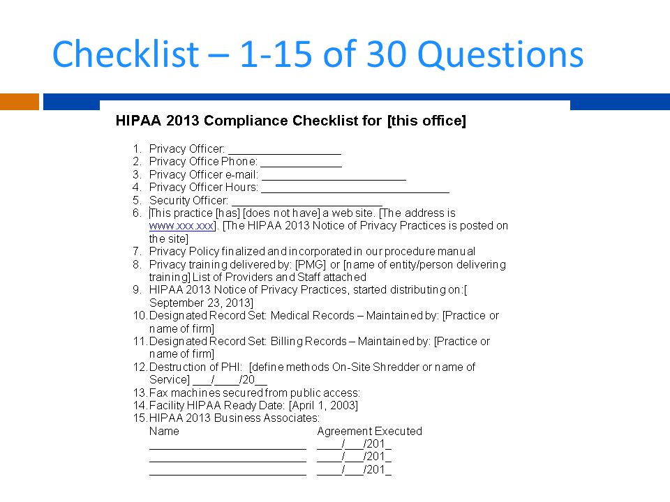 Checklist – 1-15 of 30 Questions