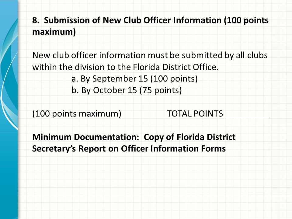 8. Submission of New Club Officer Information (100 points maximum) New club officer information must be submitted by all clubs within the division to