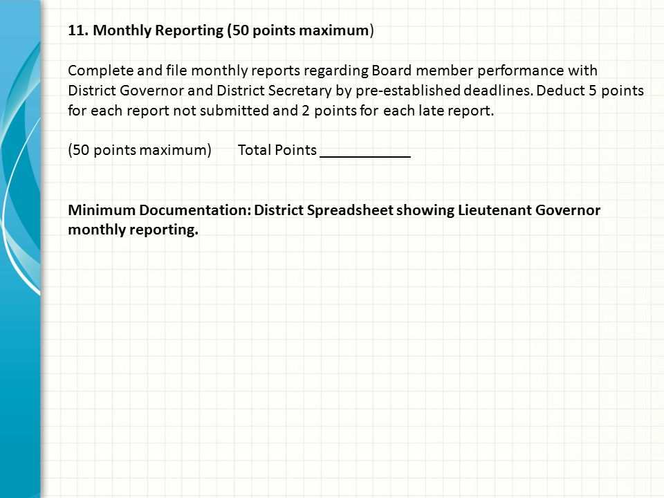 11. Monthly Reporting (50 points maximum) Complete and file monthly reports regarding Board member performance with District Governor and District Sec
