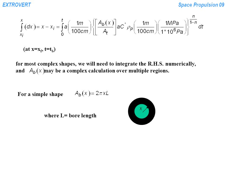 EXTROVERTSpace Propulsion 09 (at x=x f, t=t b ) for most complex shapes, we will need to integrate the R.H.S.