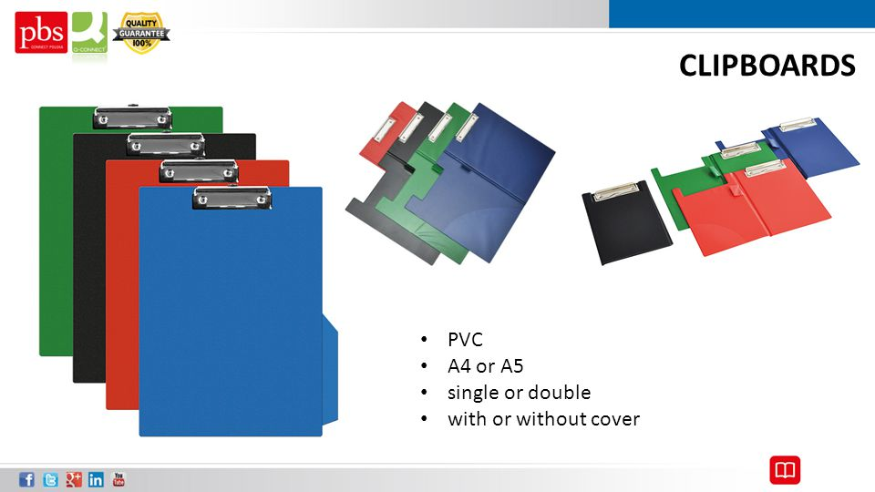 CLIPBOARDS PVC A4 or A5 single or double with or without cover