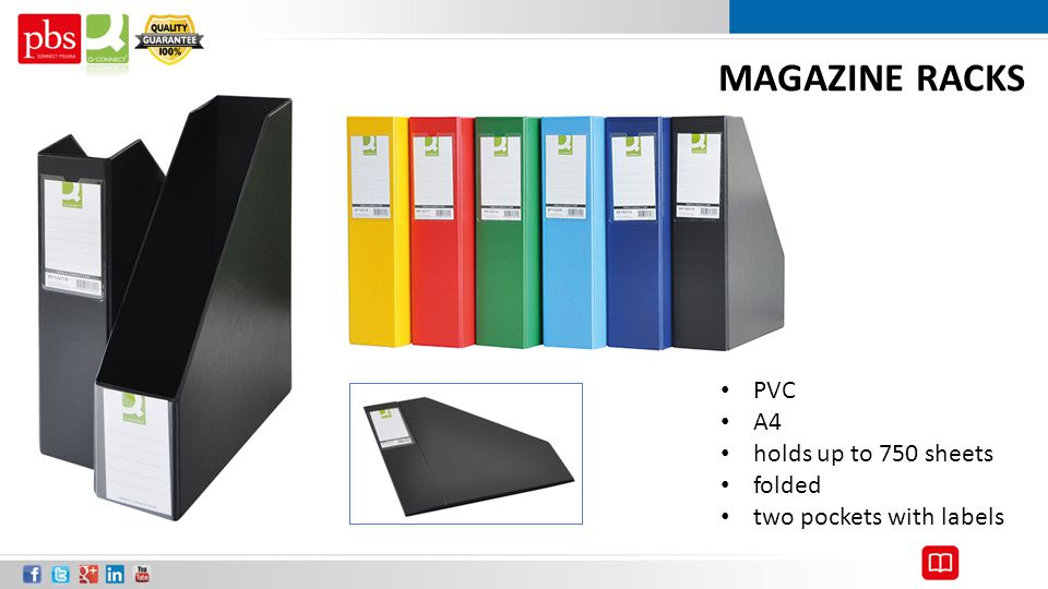MAGAZINE RACKS PVC A4 holds up to 750 sheets folded two pockets with labels