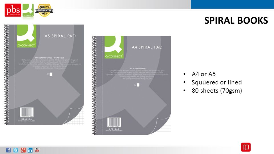 SPIRAL BOOKS A4 or A5 Squuered or lined 80 sheets (70gsm)