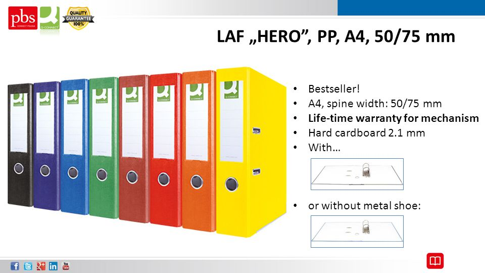 """LAF """"HERO"""", PP, A4, 50/75 mm Bestseller! A4, spine width: 50/75 mm Life-time warranty for mechanism Hard cardboard 2.1 mm With… or without metal shoe:"""