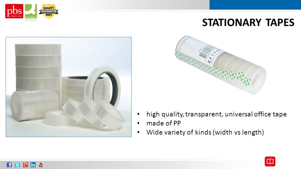 STATIONARY TAPES high quality, transparent, universal office tape made of PP Wide variety of kinds (width vs length)