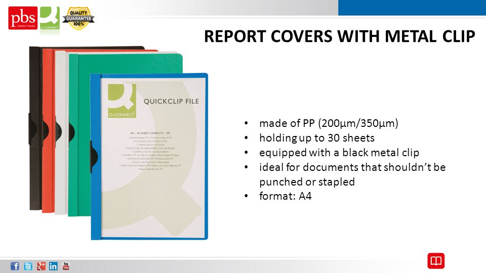 REPORT COVERS WITH METAL CLIP made of PP (200μm/350μm) holding up to 30 sheets equipped with a black metal clip ideal for documents that shouldn't be punched or stapled format: A4