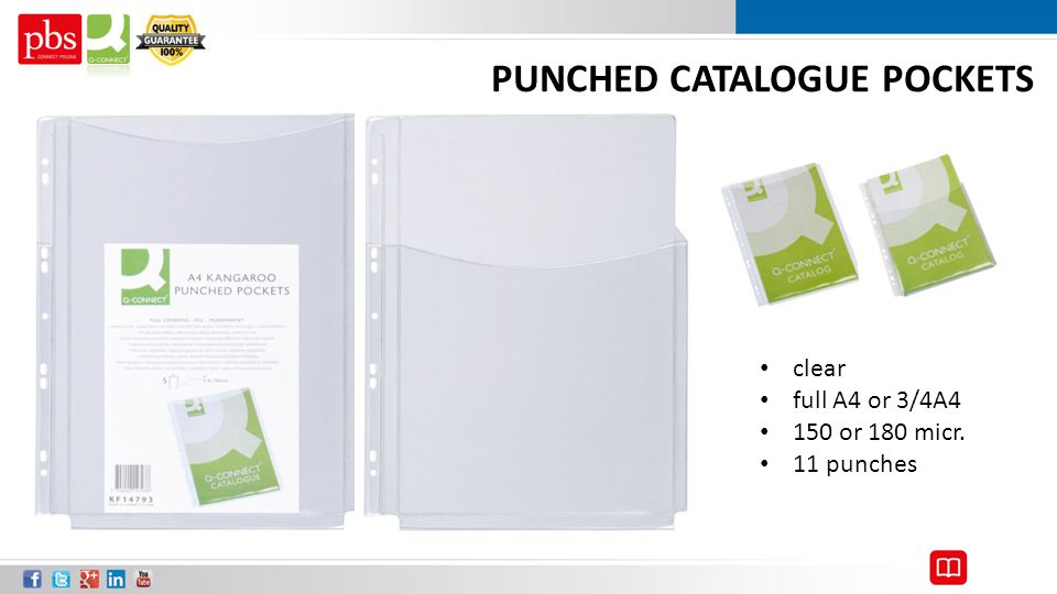 PUNCHED CATALOGUE POCKETS clear full A4 or 3/4A4 150 or 180 micr. 11 punches