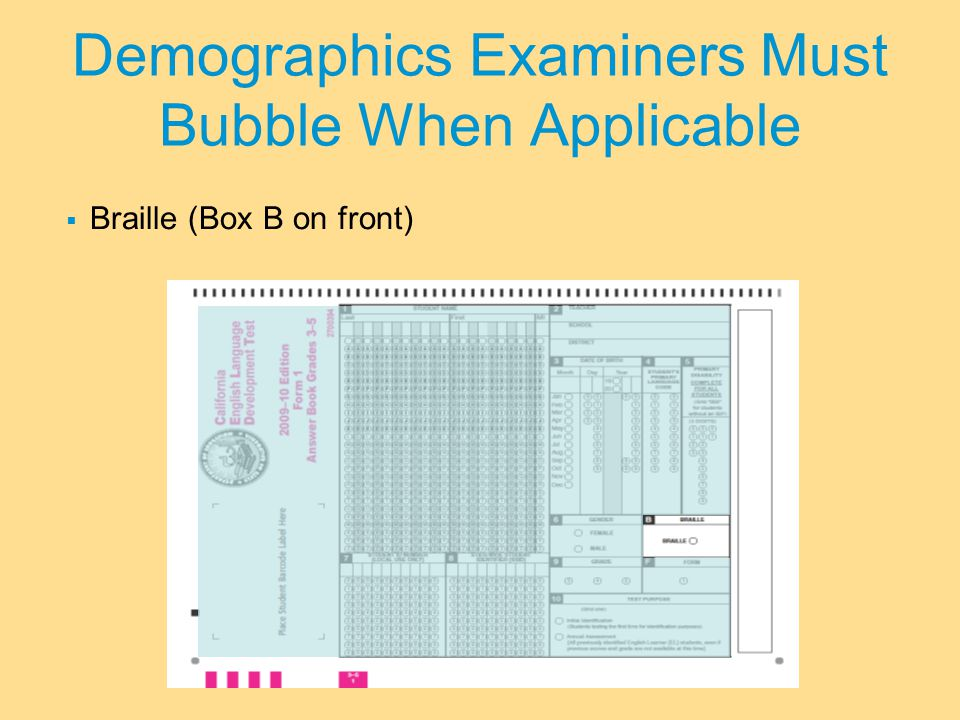 Demographics Examiners Must Bubble When Applicable  Braille (Box B on front)