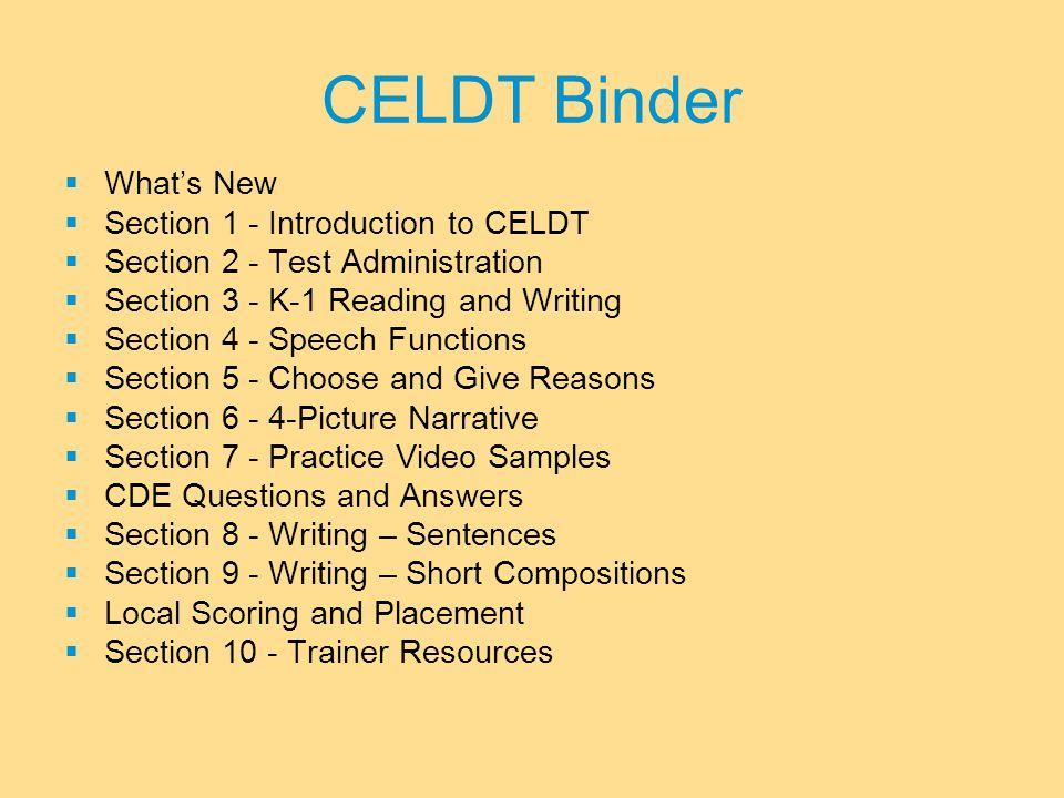 Video Samples Sample Items, Binder 7-7 K-1 Sample 9-12 Sample DVD: Administration Speaking Scoring Practice