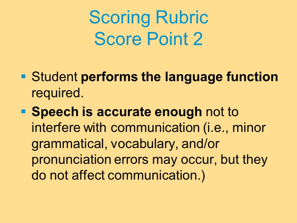 Scoring Rubric Score Point 2  Student performs the language function required.