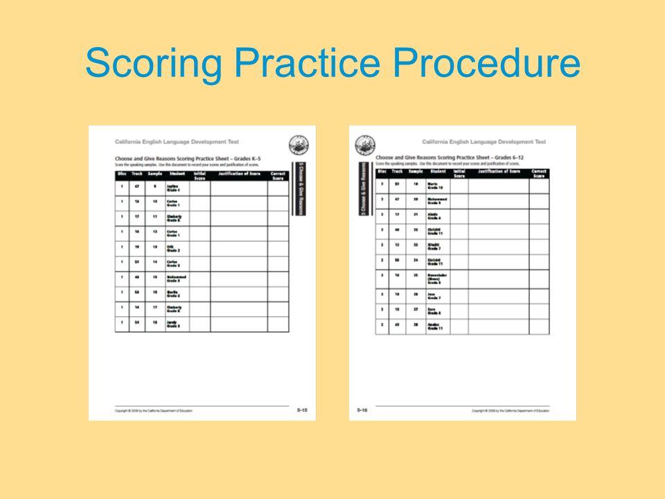 Scoring Practice Procedure