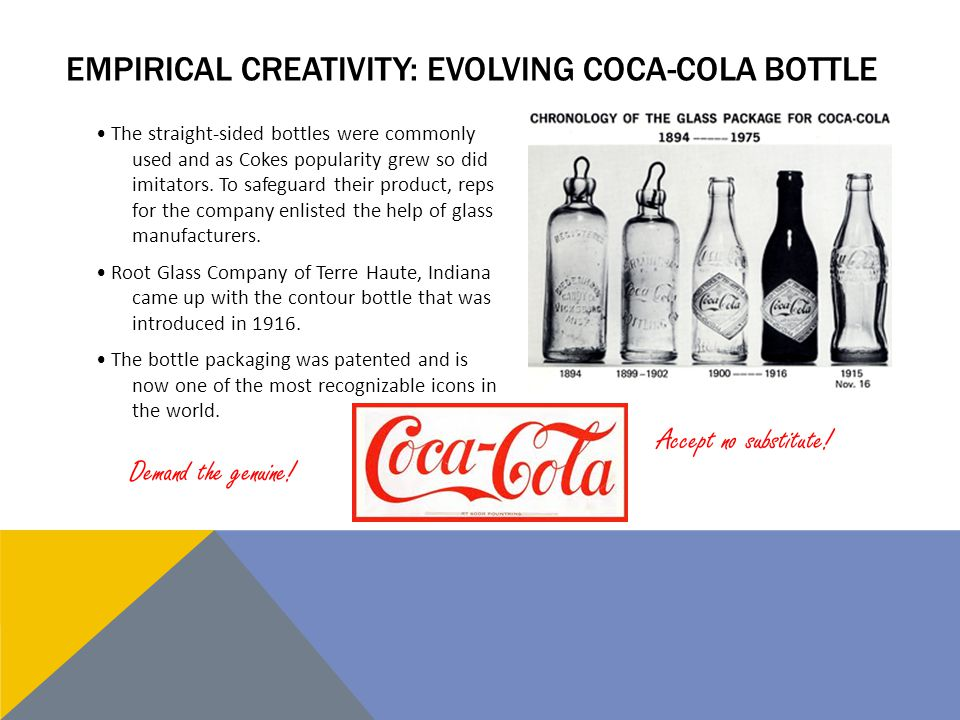 EMPIRICAL CREATIVITY: EVOLVING COCA-COLA BOTTLE The straight-sided bottles were commonly used and as Cokes popularity grew so did imitators.
