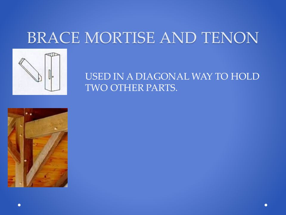 BRACE MORTISE AND TENON USED IN A DIAGONAL WAY TO HOLD TWO OTHER PARTS.