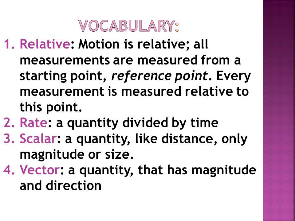 Agenda 1) Warm-Up 5 min 2) Physics Vocab. Words 10 min 3) Binder Set-up 5 min 4) Review for Quiz 15 min 5) Vector Notes 10 min 6) Speed & Velocity WS