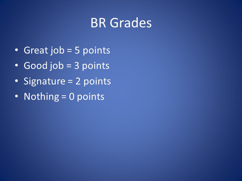 BR Grades Great job = 5 points Good job = 3 points Signature = 2 points Nothing = 0 points