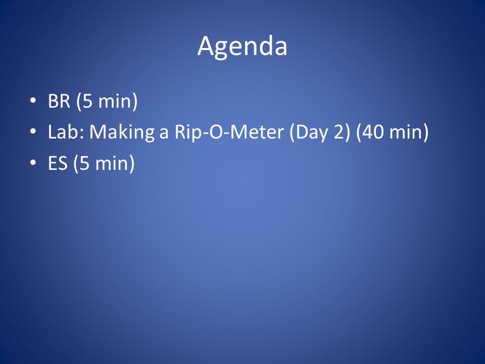 Agenda BR (5 min) Lab: Making a Rip-O-Meter (Day 2) (40 min) ES (5 min)