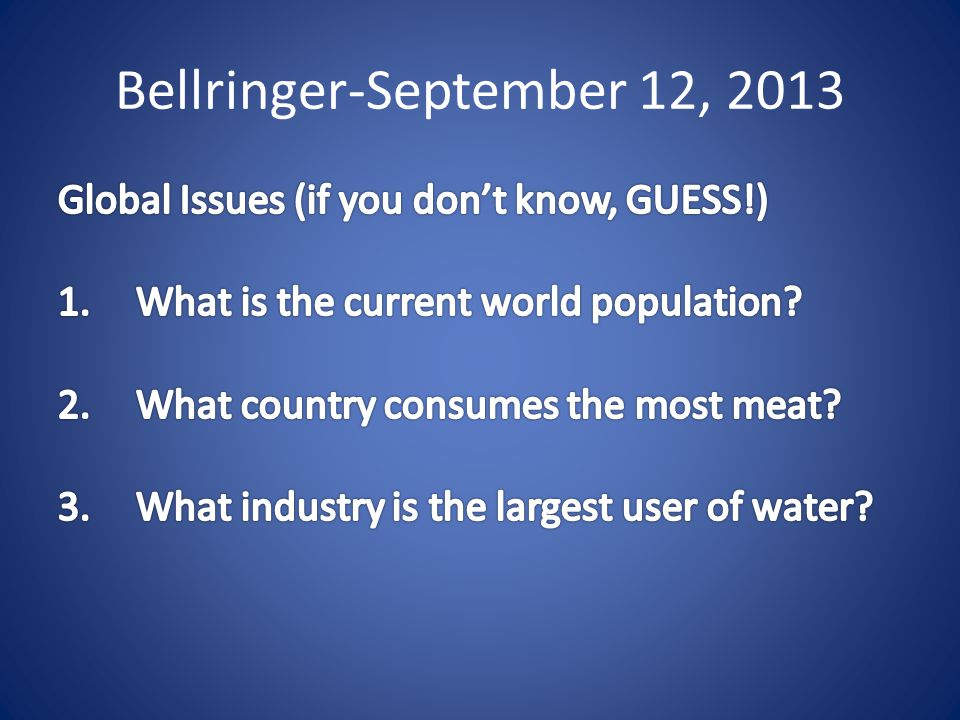 Bellringer-September 12, 2013