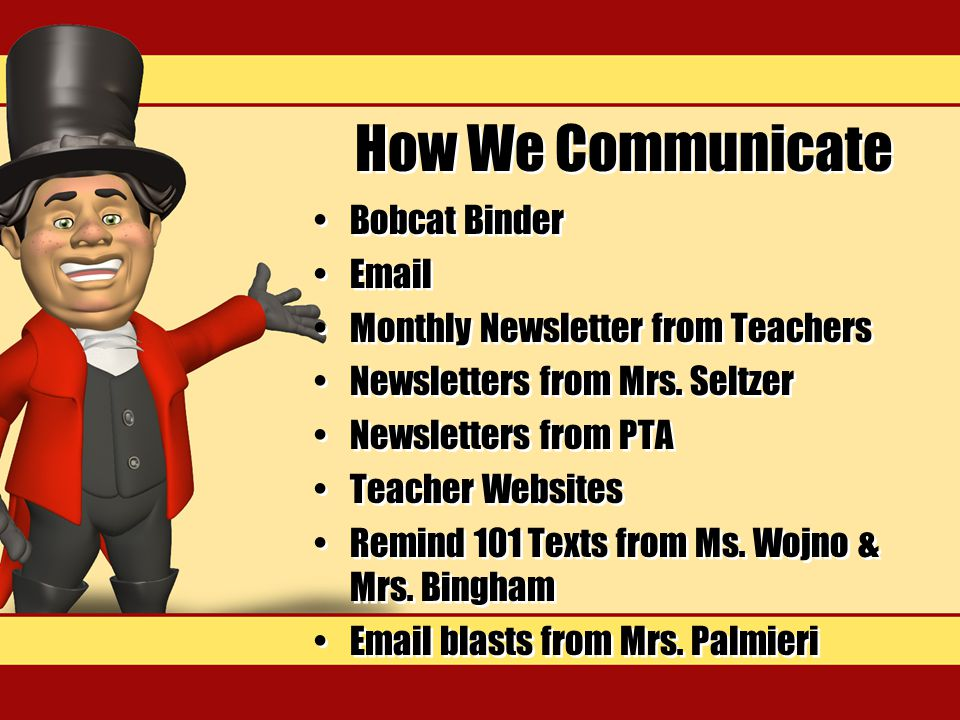 How We Communicate Bobcat Binder Email Monthly Newsletter from Teachers Newsletters from Mrs.