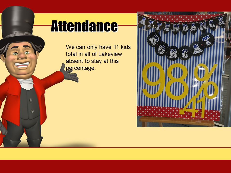 Attendance We can only have 11 kids total in all of Lakeview absent to stay at this percentage.