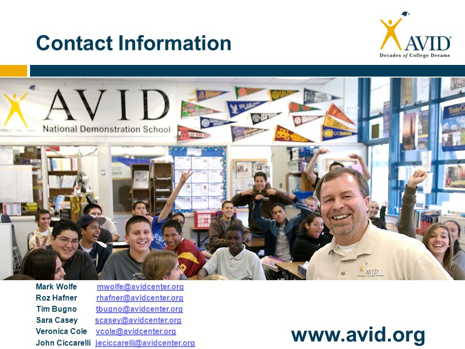 Contact Information www.avid.org Mark Wolfe mwolfe@avidcenter.orgmwolfe@avidcenter.org Roz Hafner rhafner@avidcenter.orgrhafner@avidcenter.org Tim Bugno tbugno@avidcenter.orgtbugno@avidcenter.org Sara Casey scasey@avidcenter.orgscasey@avidcenter.org Veronica Cole vcole@avidcenter.orgvcole@avidcenter.org John Ciccarelli jeciccarelli@avidcenter.orgjeciccarelli@avidcenter.org