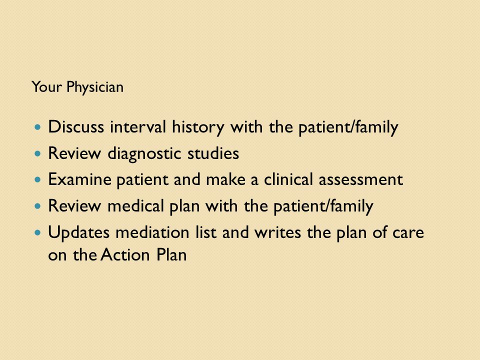 Your Physician Discuss interval history with the patient/family Review diagnostic studies Examine patient and make a clinical assessment Review medical plan with the patient/family Updates mediation list and writes the plan of care on the Action Plan