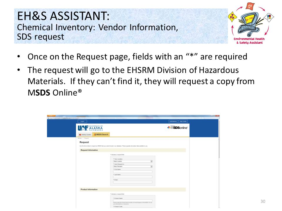 Once on the Request page, fields with an * are required The request will go to the EHSRM Division of Hazardous Materials.