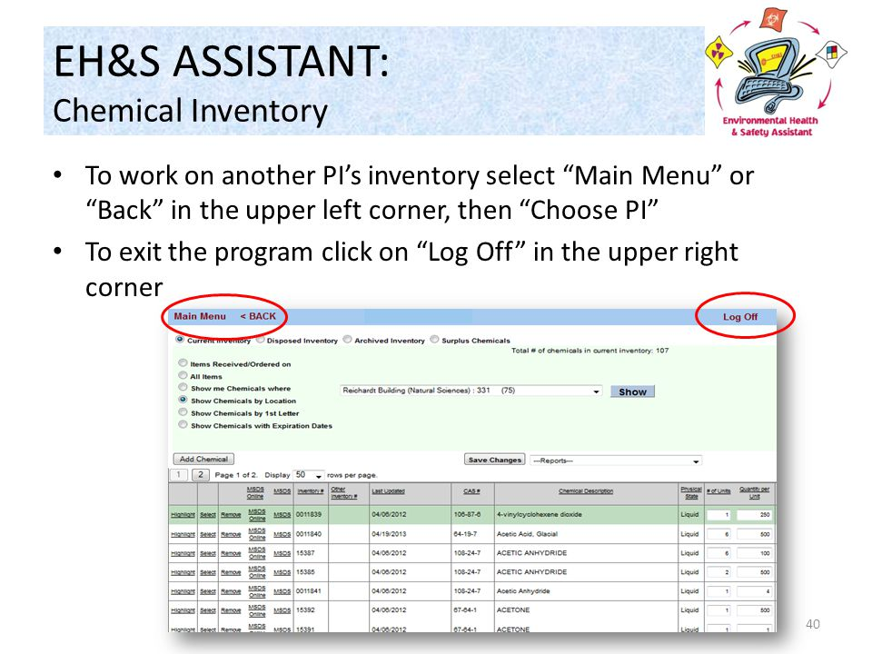 EH&S ASSISTANT: Chemical Inventory To work on another PI's inventory select Main Menu or Back in the upper left corner, then Choose PI To exit the program click on Log Off in the upper right corner 40