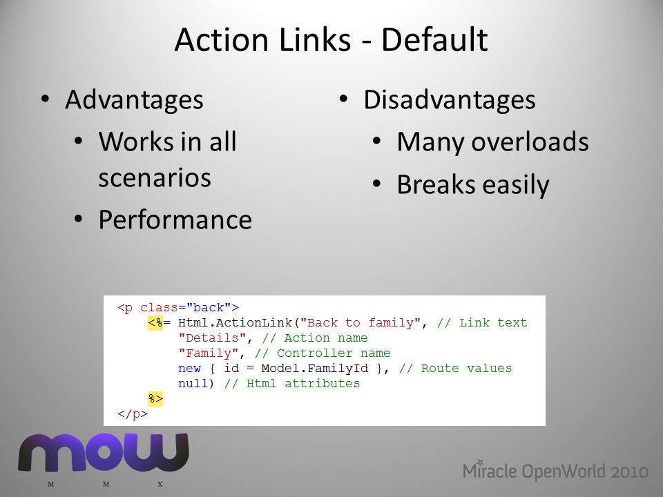 Action Links - Default Advantages Works in all scenarios Performance Disadvantages Many overloads Breaks easily