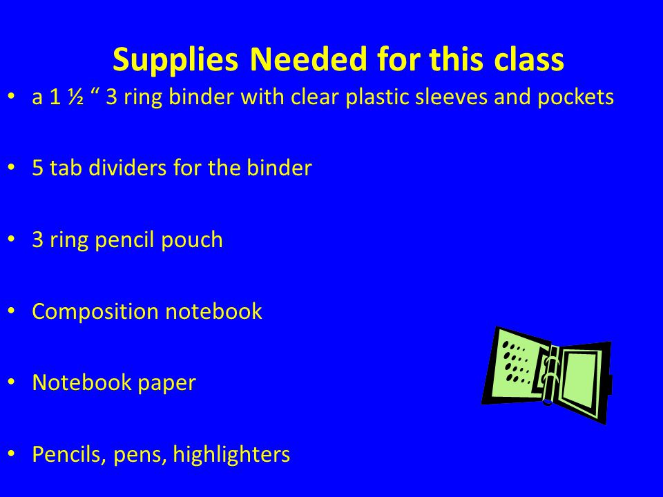 Supplies Needed for this class a 1 ½ 3 ring binder with clear plastic sleeves and pockets 5 tab dividers for the binder 3 ring pencil pouch Composition notebook Notebook paper Pencils, pens, highlighters