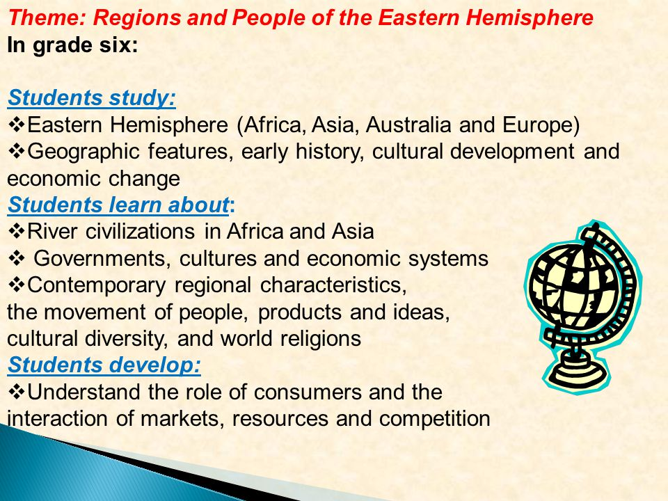 Theme: Regions and People of the Eastern Hemisphere In grade six: Students study:  Eastern Hemisphere (Africa, Asia, Australia and Europe)  Geographic features, early history, cultural development and economic change Students learn about:  River civilizations in Africa and Asia  Governments, cultures and economic systems  Contemporary regional characteristics, the movement of people, products and ideas, cultural diversity, and world religions Students develop:  Understand the role of consumers and the interaction of markets, resources and competition
