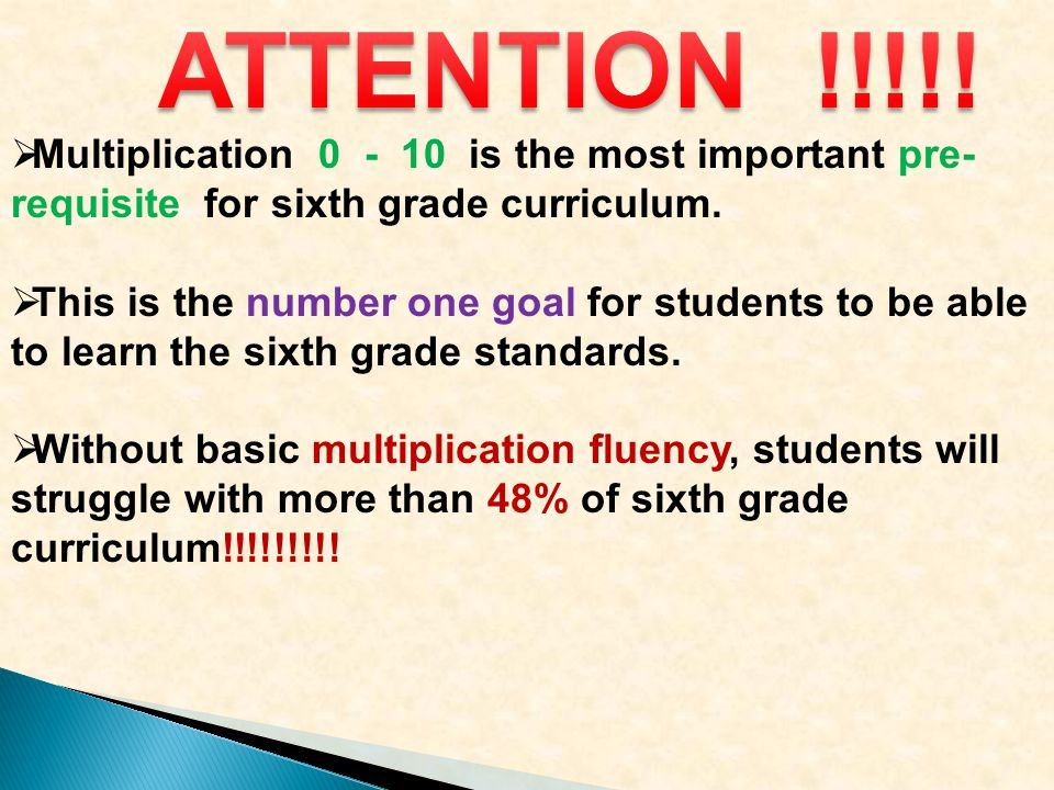  Multiplication 0 - 10 is the most important pre- requisite for sixth grade curriculum.