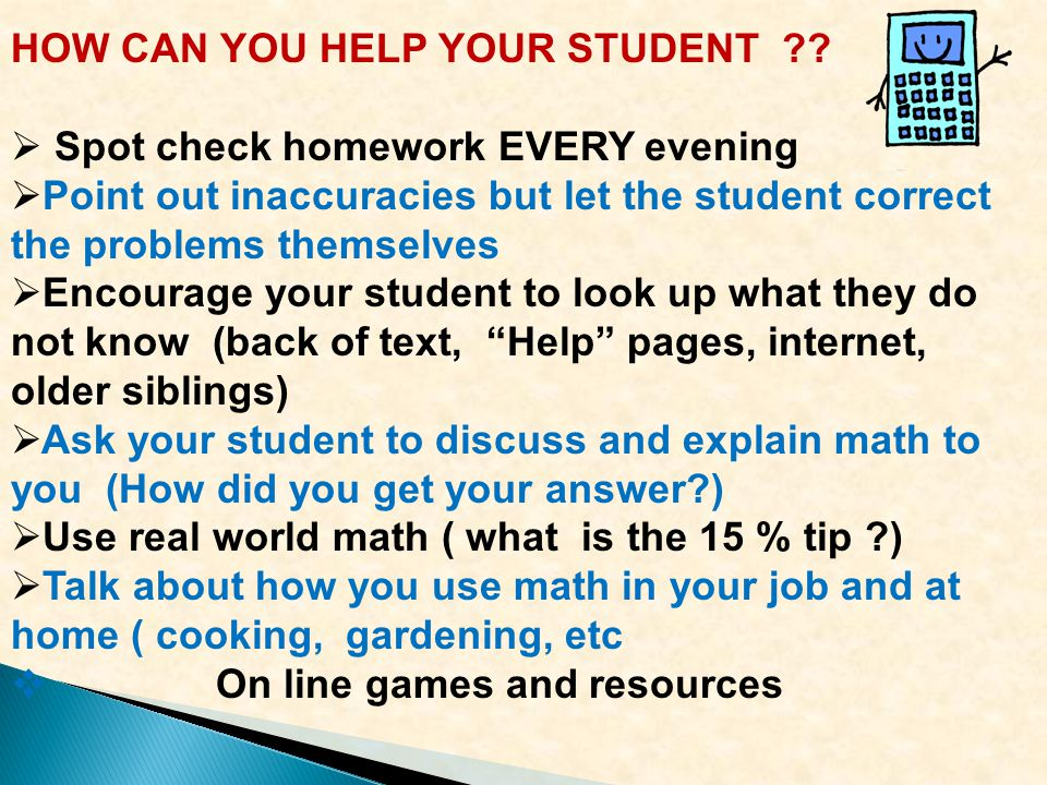 HOW CAN YOU HELP YOUR STUDENT .