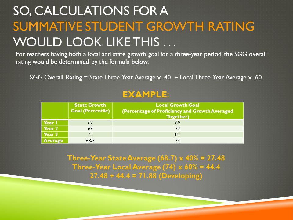 SO, CALCULATIONS FOR A SUMMATIVE STUDENT GROWTH RATING WOULD LOOK LIKE THIS...